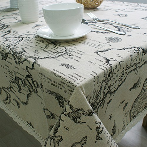 Gyswshh European Style Tablecloth,World Map Cotton Linen Home Kitchen Table Decoration ()