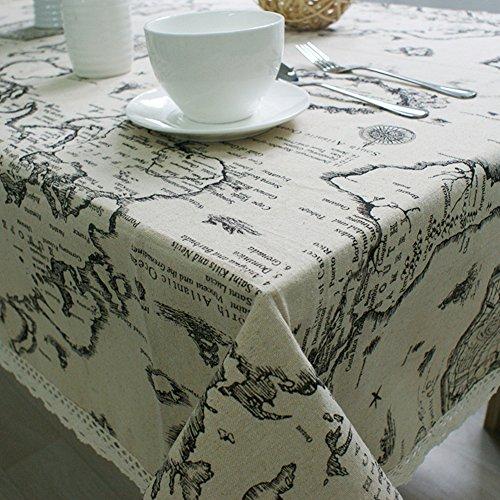Gyswshh European Style Tablecloth,World Map Cotton Linen Home Kitchen Table Decoration 6060cm