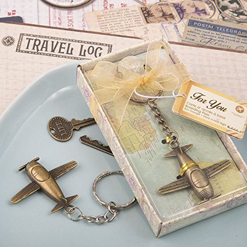 72 Vintage Airplane Design All Metal Key Chains in Antique Brass Color Finish by Fashioncraft