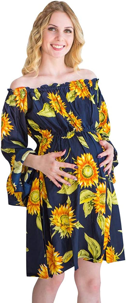 i-Smalls Ladies Floral Sun Flower Print Nightshirt Crew Neck