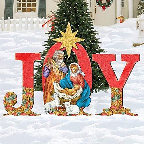 Outdoor Nativity Set JOY, Holly Family Front Yard Scene by G.DeBrekht 8121456F