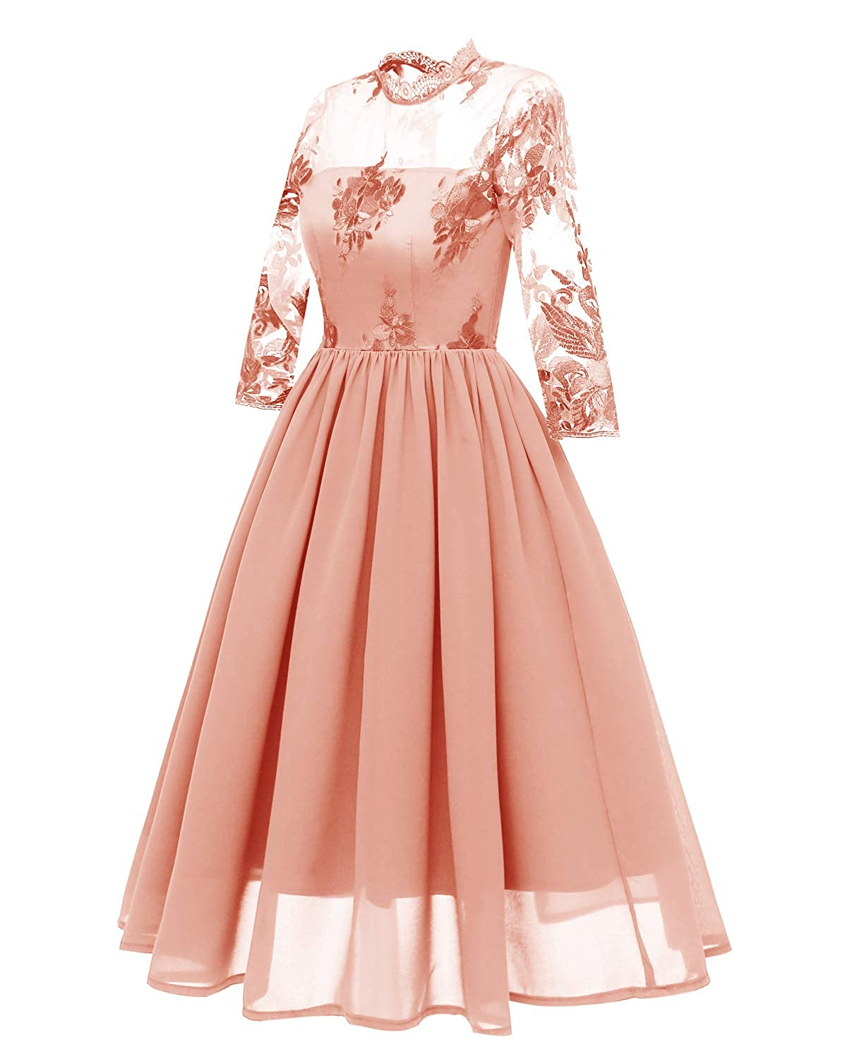 72432f4ef9 Bright Deer Women Premium Embroidered Floral High Neck Sleeved Midi Prom  Dress: Amazon.co.uk: Clothing