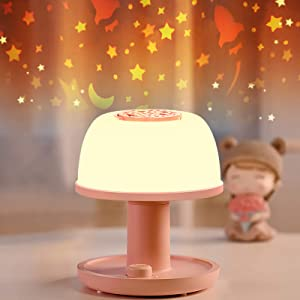Night Light for Kids with Star Projector, LICKLIP Cordless Dimmable LED Bedside Lamp with Timer, Eye-Caring Nursery Night Light for Toddler Baby with Color Changing, Warm White Light