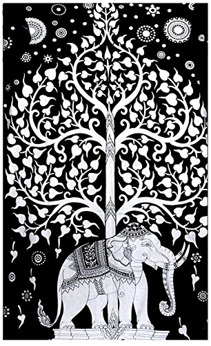 Wall Art Elephant Tree Wall Hanging Black And White Queen Size Large 84x90 Best - Shipping Outfitters Urban International