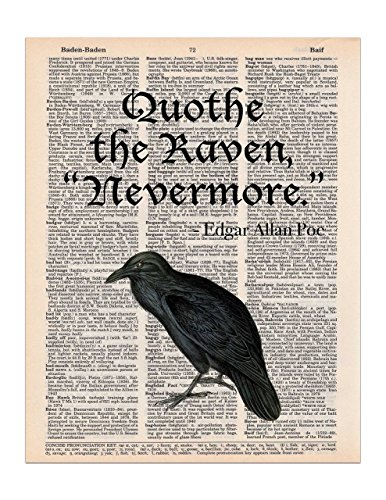 The Raven, Edgar Allan Poe Quote, Dictionary Page Art Print, 8x11 (Halloween Quotes)