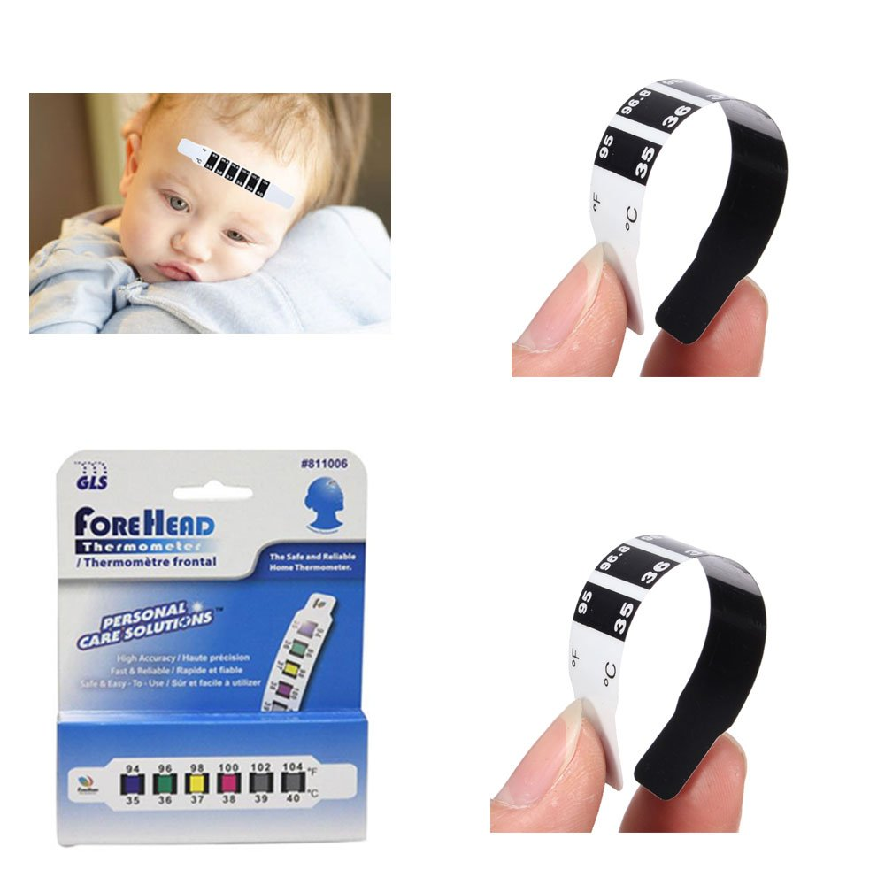 Amazon.com: 2 Pc Forehead Thermometer Strip Disposable Reusable Baby Fever Body Temperature: Health & Personal Care