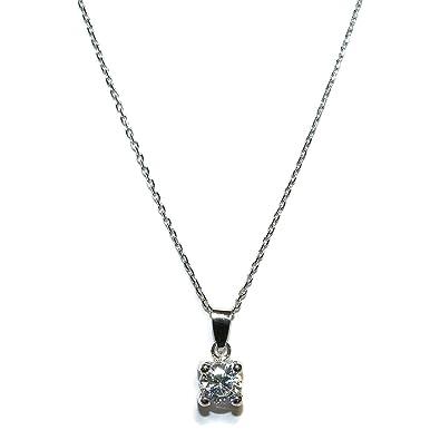 62379e1c6c3e Collar de oro de 18k de 40cm con colgante de 4 garras de 5mm de oro de 18k  y circonita.  Amazon.es  Joyería