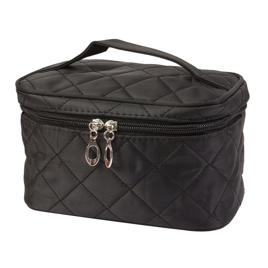 BEAUTYVAN Cosmetic Bag, Fashion Square Case Grain of Pure Color Cosmetic Bag (Black)