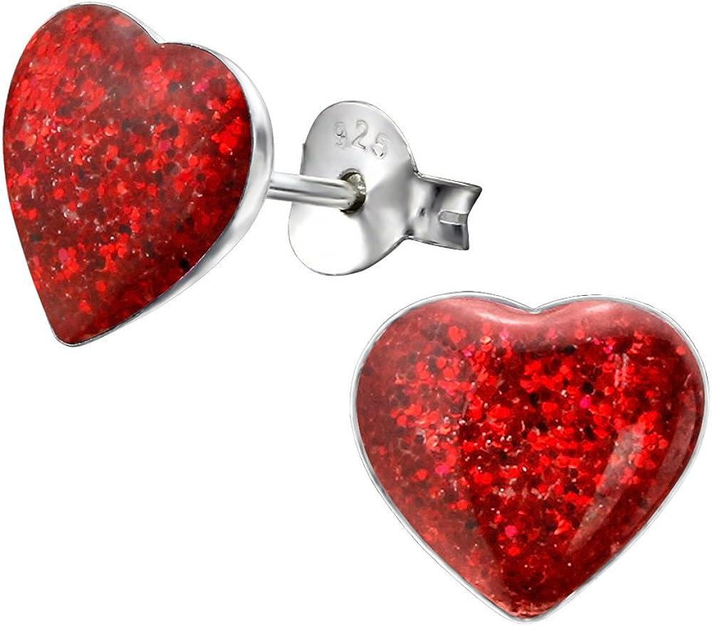 Laimons Pendientes para mujer Disco con forma de corazón Rojo Brillante Plata de ley 925