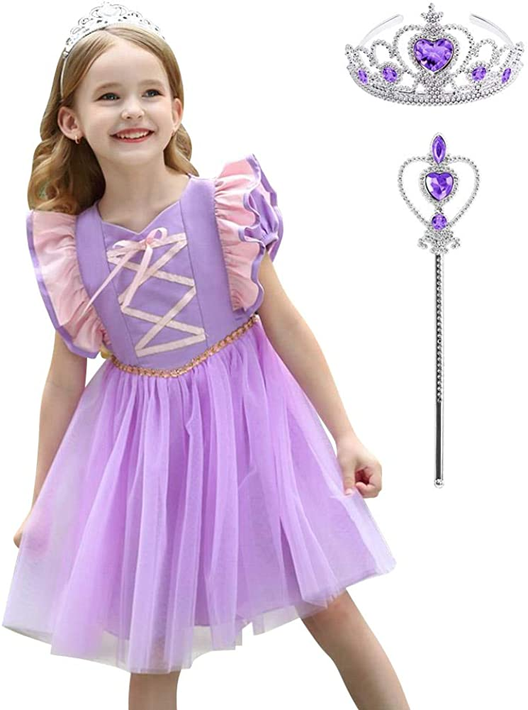Amazon Com Obeeii Girls Princess Tangled Dress Up Costume Cosplay Fancy Party Tutu Dress Halloween Christmas For 2 8 Years Clothing