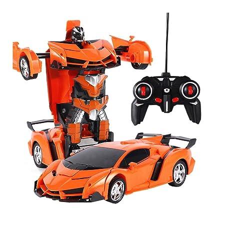 OOOUSE Transformer RC Car Robot Toy, Transformer Car Toys Recargable con deformación de un botón, rotación de 360 Grados, Luces LED Frescas, Navidad y ...