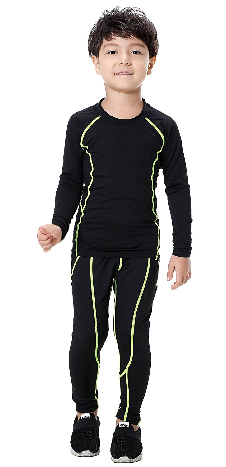 Diyo Kids Base Layer Set Compression Long Sleeve Soccer Practice T-Shirt and Pants