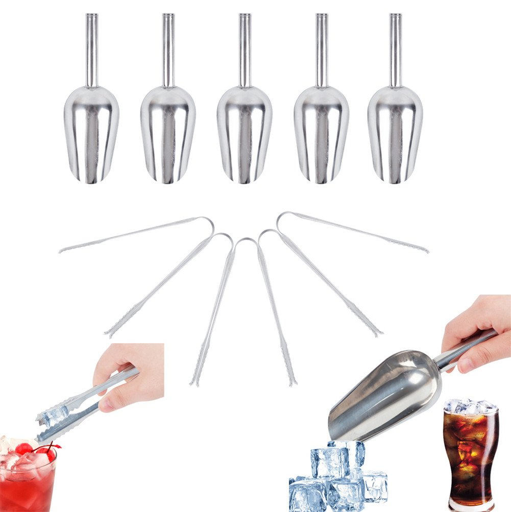 5Pcs Stainless Steel Ice Scoop and 5Pcs Ice Tongs for Kitchen Bar Buffet Party Wedding Tool,Buffet Ice Tongs & Scoops Great for birthday parties, weddings, buffets, restaurants