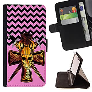 - Devil Cross Chevron Pattern - - Premium PU Leather Wallet Case with Card Slots, Cash Compartment and Detachable Wrist Strap FOR Samsung Galaxy S4 IV I9500 i9508 i959 King case