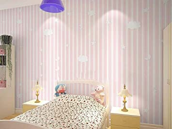 Eco Friendly Non Woven Wallpaper Cute Warm Striped Bedroom WallpaperPink