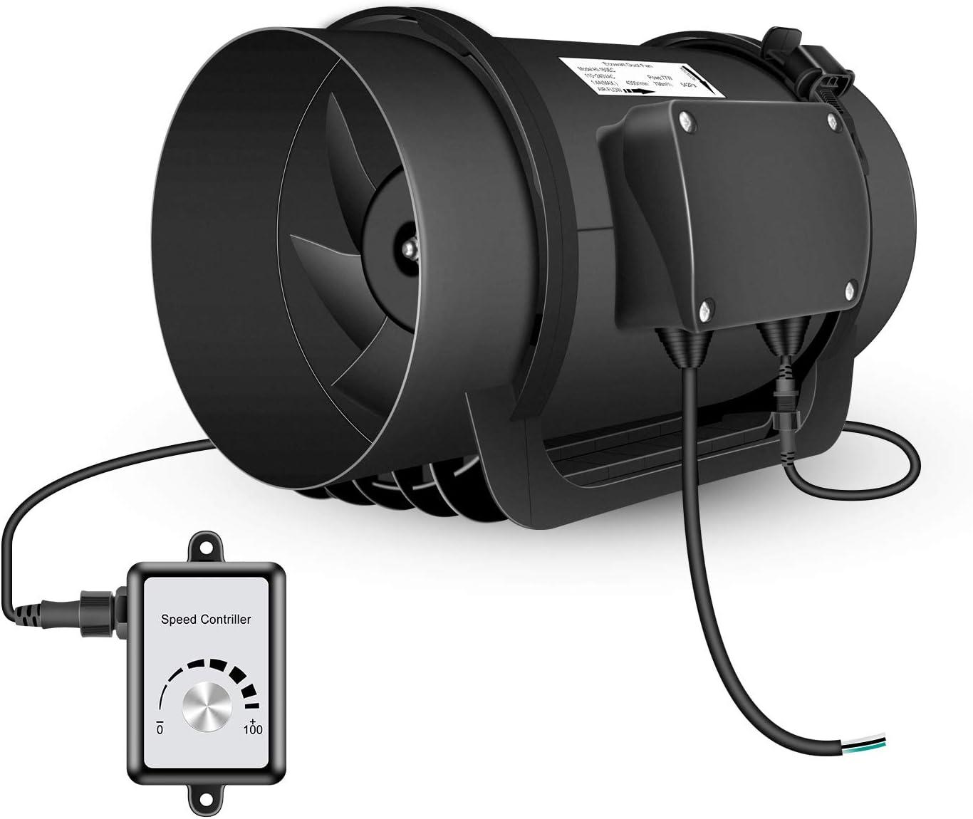 VEVOR Ventilador Axial 120W Ventilador Industrial Extractor 2600Rpm Extractor de Ventilaci/ón Ventilador de Escape con Controlador de Velocidad