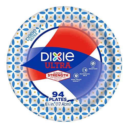 "Dixie Ultra Paper Plates, 6 7/8"", 94 Count, Dessert or Snack Size Printed Disposable Plates"