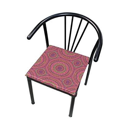 "HNTGHX Outdoor/Indoor Chair Cushion Ethnic Indian Mandala Square Memory Foam Seat Pads Cushion for Patio Dining, 16"" x 16"": Home & Kitchen"