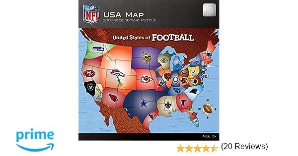 Amazoncom MasterPieces NFL Map Puzzle Piece Toys Games - Us map pi