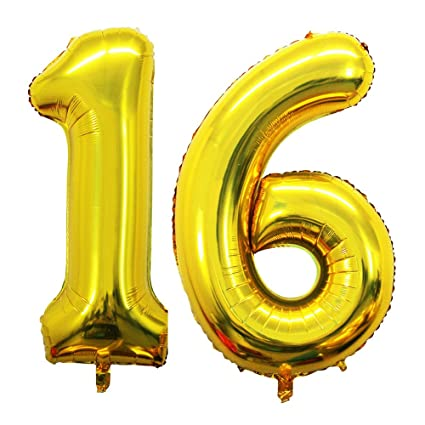 Amazon GOER 42 Inch Gold 16 Number Balloons For 16th Birthday Party DecorationsJumbo Foil Helium Sweet Party16th Anniversary Toys