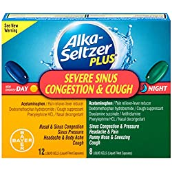 Alka-seltzer Plus Severe Sinus Congestion, Cough Day and Night Liquid Gels, 20 Count