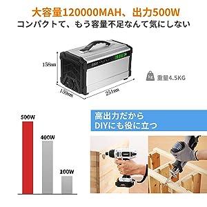 Vinteky G500 444Wh AC出力500W パススルー ポータブル電源