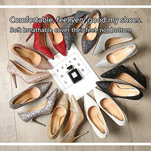 Paillette Shoes 8 Dress Sexy Color Women's Options Pump Black BERTERI xnIBTqw