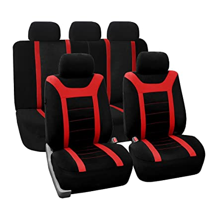 FH Group Universal Fit Full Set Sports Fabric Car Seat Cover With Airbag Split Ready