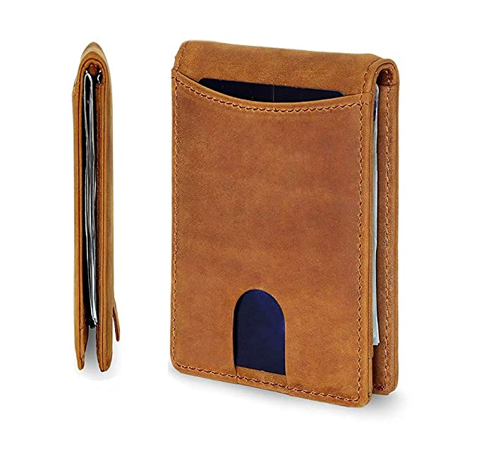 ca0651fa5f8f Money Clip Wallets for Men Slim Wallet Minimalist Leather Bifold with Gift  Box