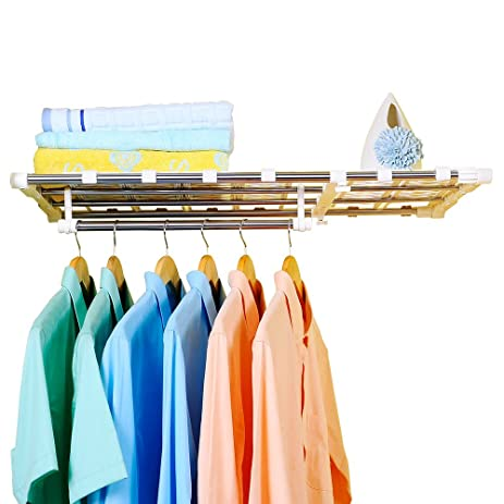 Baoyouni Expandable Closet Shelf, Adjustable Storage Rack Shelves  Separator, Layered Organizer Divider Holder Clothes