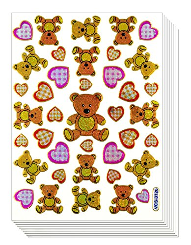 Teddy Bear, 10 Sheets Colorful Teddy Bear With Heart Decorative Sticker, Scrapbook Stickers, Reflective Stickers - Stickers for Kids - Size 4 X 5.25 Inch./sheet