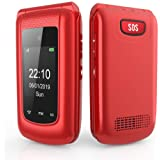 Unlocked 3G Seniors Flip Cell Phone, Uleway Dual SIM Card Big Button Easy-to-Use Mobile Phone for Elderly (Red)