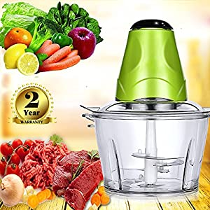 Electric Food Chopper , Compact and Powerful Hand-held Chopper Perfect for Slicing, Mincing, Blending Veggies, Fruits, Nuts, Herbs, Onions and Garlic(2 year warranty) (Electric Food Chopper 1.2L)