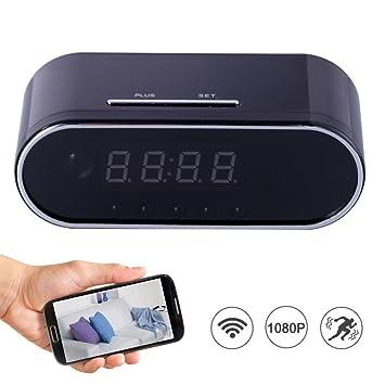 Teepao Reloj Ocultado de la Cámara Espía de WiFi 12 Horas del Sistema, Cámara Oculta