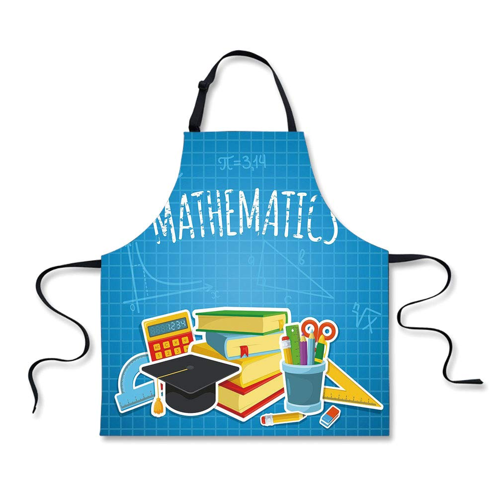 iPrint BBQ Apron,Mathematics Classroom Decor,Education Science Concept School College Supplies Set Books Cap Decorative,Multicolor, Apron.29.5''x26.3''