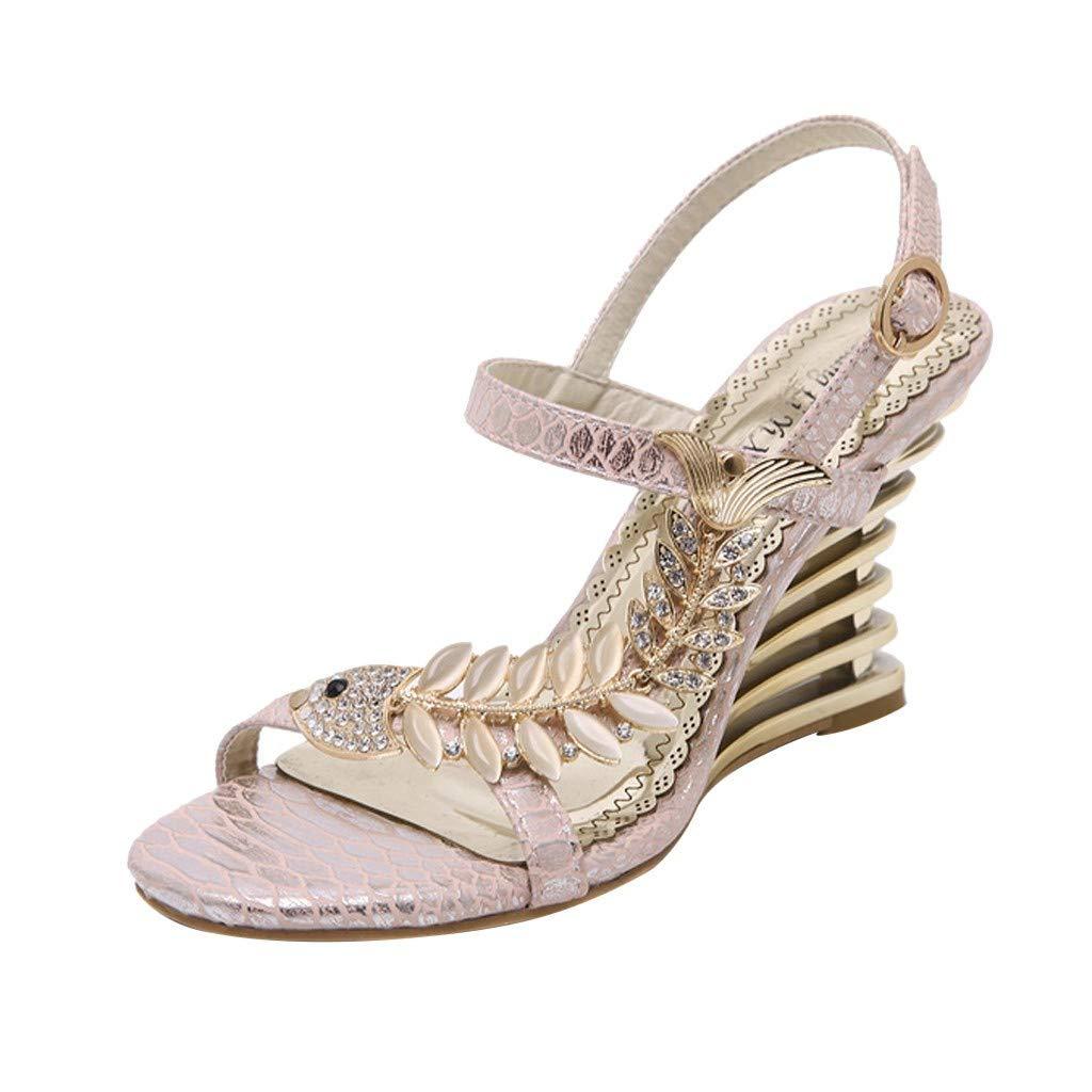 ZOMUSAR New! 2019 Women's Summer Casual Fashion Rhinestone Nightclub Flower Wedge Sandals Shoes Beige