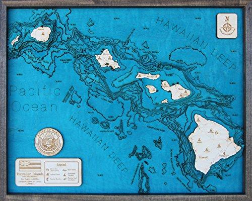 Hawaiian Islands 3D Wood Map Large 24''L x 31''W in by TahoeWoodMaps.com