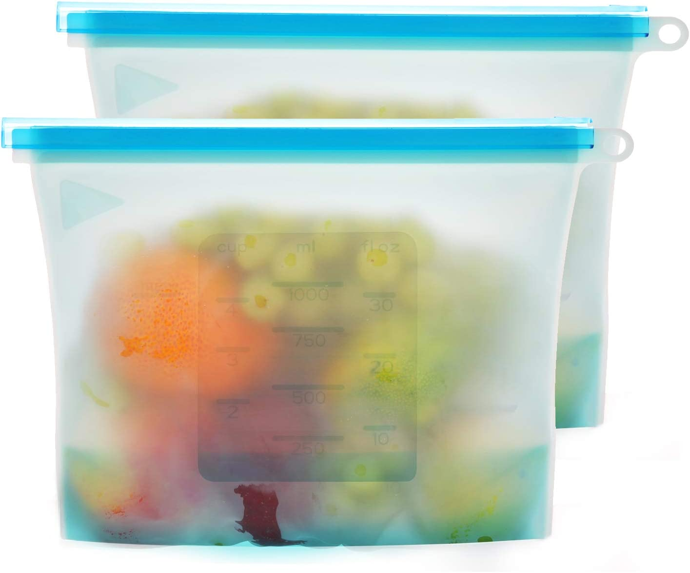 2pcs Reusable Silicone Food Storage Bags with Ziplock for Sous Vide Cooking, Sandwich, Liquid, Snack, Lunch, Fruit, Vegetable, Meat, Freezer Airtight Seal