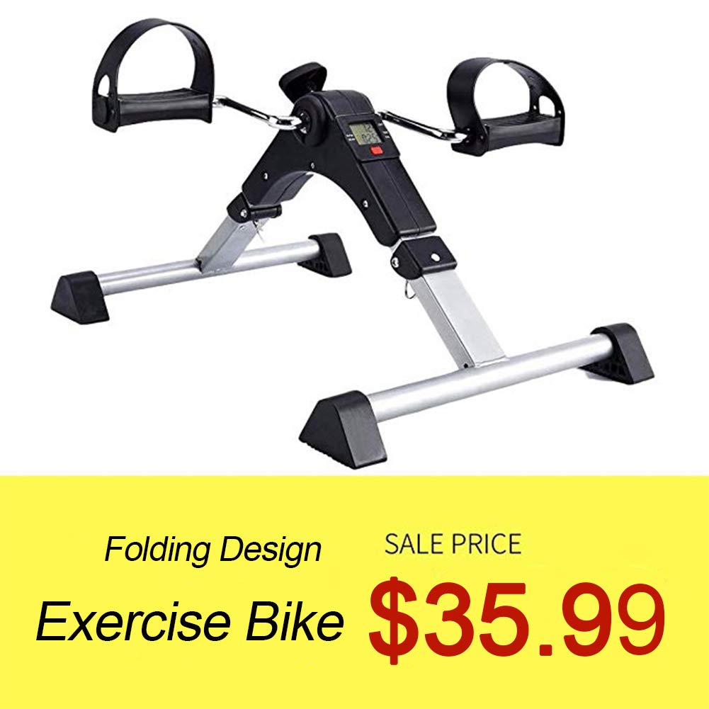 SYNTEAM Foldable Pedal Exerciser with LCD monitor bike exercise machine for Seniors-Fully Assembled, No Tools Required(Black) by Synteam