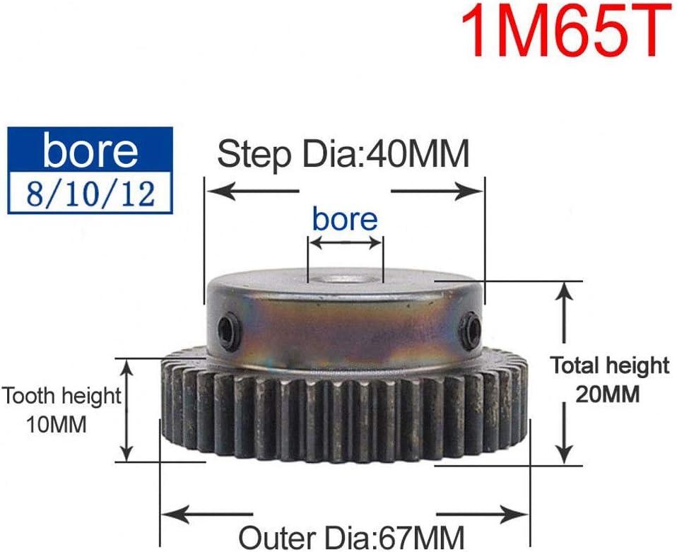 Bore:6.35mm; Step Diameter: 0mm, 1Mod 12T High Precision 1 Mod 12T Spur Gear 45# Steel Heavy Duty Pinion Gear 6.35mm Bore With Step x 1Pcs