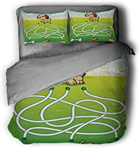 Luoiaax Kids Activity Hotel Luxury Bed Linen Cartoon Style Hungry Puppy Wants Bone Maze Game Design with Extra Pathways Polyester - Soft and Breathable (Full) Multicolor