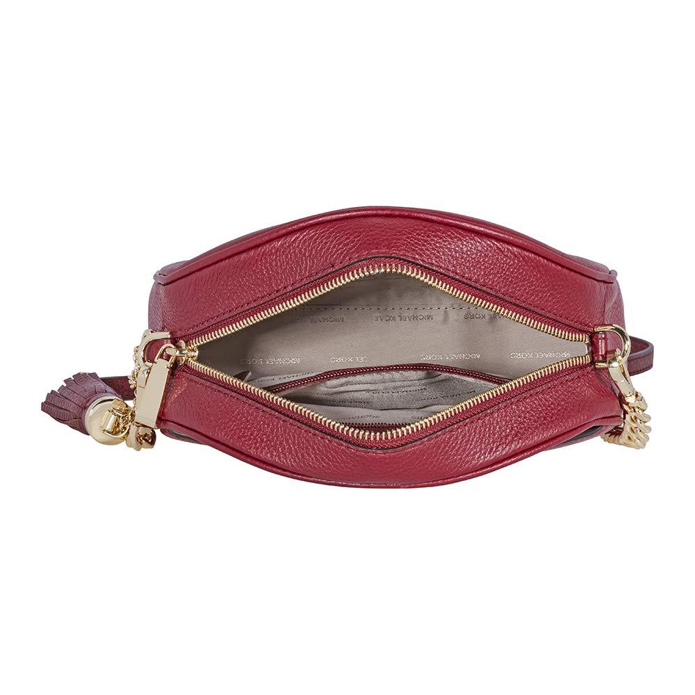 a5da0cdeaad5 Michael Kors Ginny Pebbled Leather Half-Moon Crossbody Bag- Maroon:  Handbags: Amazon.com