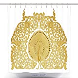 Stylish Shower Curtains Ornament Of Gold Plated Vintage Floral Thai Art Style 310522988 Polyester Bathroom Shower Curtain Set With Hooks