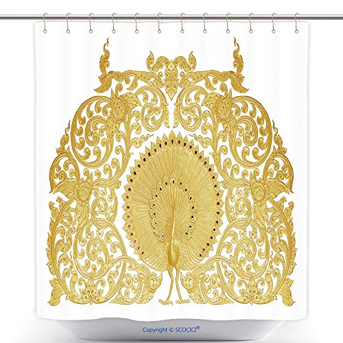 Stylish Shower Curtains Ornament Of Gold Plated Vintage Floral Thai Art Style 310522988 Polyester Bathroom Shower Curtain Set With Hooks by