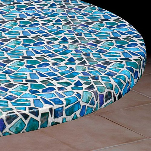 Cheap  Round Vinyl Table Cover With Elastic Edge- Fits 36