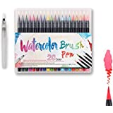 WOWENWO Watercolor Brush Pen 20 Colors Soft Flexible Real Brush Tip Water Coloring Brush Marker Pens Set for Watercolor Painting, Calligraphy, Adult Coloring Books, Manga, Comic (20 colors)