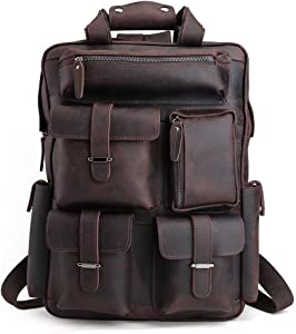 Tiding Full Grain Cowhide Leather Backpack Large Capacity 17 Inch Laptop Bag Multi Pockets Travel Daypack