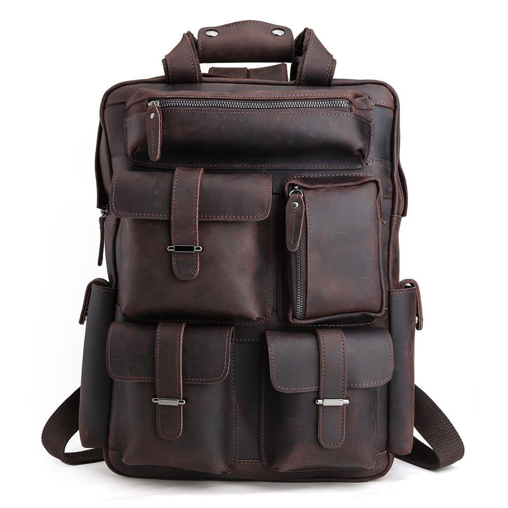 Tiding Men's Vintage Leather Sports Backpack Camping Hiking Travel Shoulder Bag Brown by Tiding