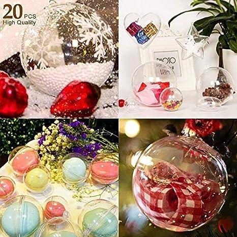 AGM Bolas de Navidad, 20 x Bolas Navideña Personalizada Transparente, Bola Rellenable de Navidad