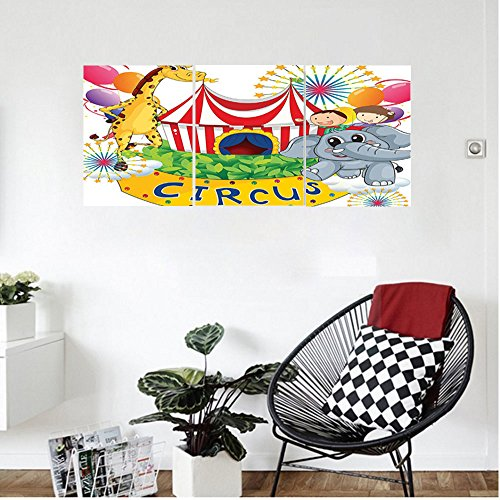 Liguo88 Custom canvas Circus Decor Circus Show With Kids and Animals Smiling Magician Children Happiness Wall Hanging for Bedroom Living Room